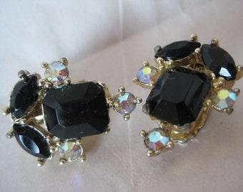 Black Aurora Gold Earrings Clip Rhinestone Vintage