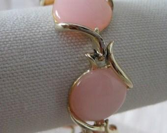 Pink Bracelet Gold Vintage Thermoset Plastic Modern