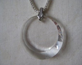 Crystal Silver Glass Necklace Vintage Pendant Faceted