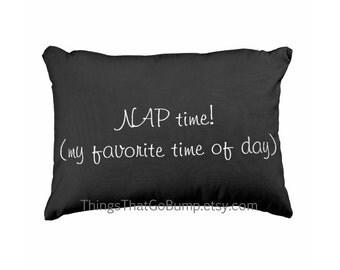 Nap time pillow black toss pillow fun made to order funny pillows mens dad grandpa toddler kids