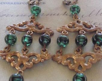 Vintage Brass REpurposed Earrings w/Green Glass Beads