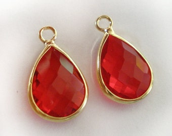 18x11mm Faceted Red Gold framed Glass teardrop - 2pcs