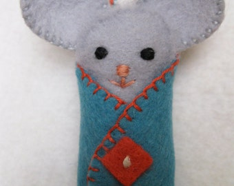 Little Gray Mouse, handmade felt ornament, baby's first Christmas