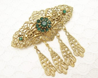 Green Rhinestone Brooch Filigree Victorian Revival Vintage Jewelry P6145