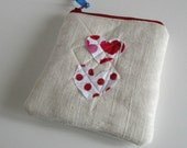 zipper pouch applique hearts, padded and lined linen and cotton
