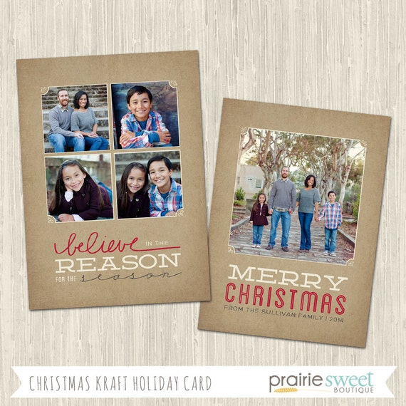 Christmas Kraft Holiday Photo Card | Photoshop Templates | Great for ...