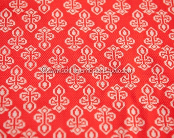 Medieval Geometric Design - New Old Stock Vintage Fabric 60s 70s RED