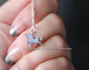 Unicorn Necklace No. 3 - Solid 925 Sterling Silver Charm Pendant - Insurance Included