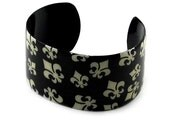 Cream on Black Painted Enamel Fleur De Lis Patterned Metal Wrist Cuff - to ADD ON or EMBELLISH