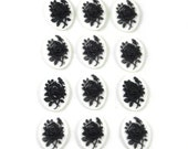 12 Pieces of Neo Victorian Gothic Mourning Rose Cameos in Black on White 18x13mm