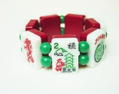 Mah Jong Bracelet / Vintage 1960's 2 Tone / Picture Tiles / Burgundy / White / Bamboo / Dragons / North Wind / JOKER / Spring / Flower Tile