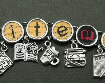 Write On Charm Bracelet Writers Authors Literary Jewelry