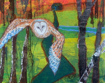 Barn Owl Mixed Media  on Watercolor Paper
