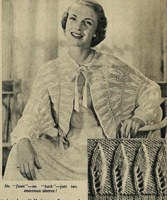 Vintage Bed Jacket Knitting Pattern : Vintage 1950s knitting pattern bed jacket multisize