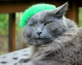 Cat Beret -  Hand Felted Wool Beret - Neon Touch Green - Unique