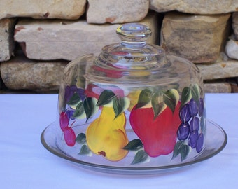 Hand Painted Glass Cheese Tray with Grapes, Apples, Pears and Cherries