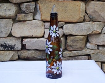 Hand Painted Brown Glass Bottle with White Daisies and Free Flowing Spout