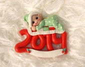 2014 BABY ORNAMENT: red baby ornament, baby's First Christmas ornament, polymer clay baby ornament, personalized baby gift, 1st Christmas