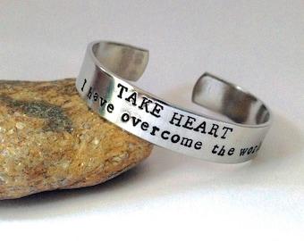 Bible verse bracelet, hand stamped bracelet, bible verse cuff, Take Heart stamped bracelet