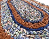 Brown and blue speckled crocheted oval shape rag rug, eco friendly, washable, bath mat, durable, rust, kitchen decor, home decor, bedroom