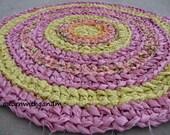Pink sunshine crocheted circle shape rag rug, eco friendly, washable, bath mat, durable, citrus colors, orange pink, kitchen rug, home decor