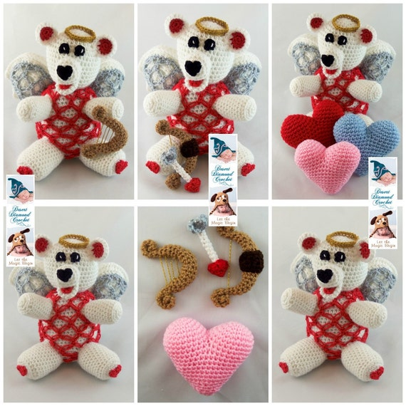 Crochet Pattern 100 - Love is in the Air Teddy Bear