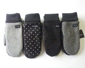 Wool and black leather mittens men and women