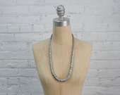 vintage distressed silver wooden bead necklace / minimalist jewelry