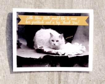Victorian Cat Thank you card #27