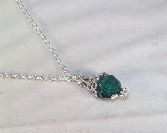 Swarovski Crystal Birthstone Necklace - Swarovski Crystal Solitaire - Sterling Silver Filled Necklace