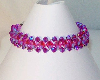 Swarovski Crystal Jewelry - 2 Tone Rose AB Bracelet - Any Color - Bridal, Wedding