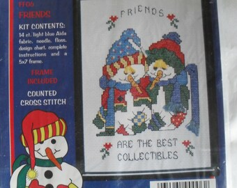 Counted CrossStitch Embroidery Flakey Friends Needle Kit Frame included New