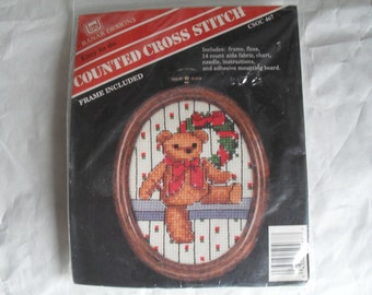 Christmas Counted CrossStitch Banar Vintage Needle Kit