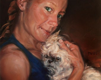 ShihTzu Cuddles, custom Oil Portrait Painting by puci, 10x10""