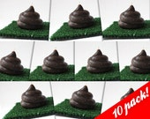 10 PACK, SHIPS FREE: Cute Poo Candle with Portable Turf - chocolate scented