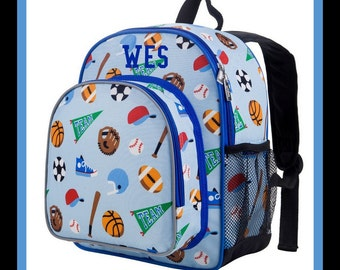 Monogram Backpack and Lunch Bag - Wildkin - Sports - Preschool Day Pack