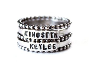 Mother Stacking Ring Set - Sterling Silver Child's Name Rings - Stamped - Mother's Day Ring - Grandchildren - Family Kids - Stacked engraved