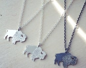 Silver Buffalo silhouette pendant necklace on 18 inch chain