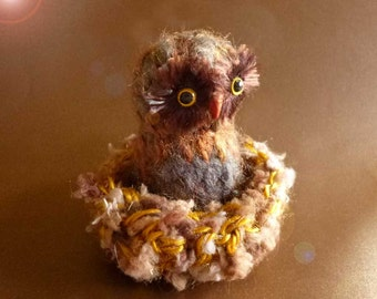 Miniature Owl With Nest OOAK