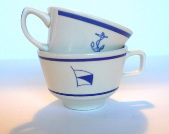 Vintage Navy Cups Coffee Cups Navy Flag Cup Anchor Cup Set Restaurant-ware