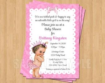 Vintage Pink Baby Girl Princess 1st Birthday Invitation JPEG Cute Unique Sweet