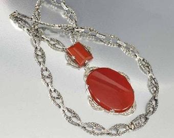 Carnelian Marcasite Necklace, Art Deco Necklace, Sterling Silver Carnelian Necklace, Vintage 1920s Antique Jewelry, Red Pendant Necklace