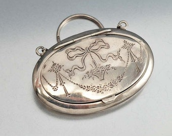 Edwardian Purse, English Silver Pendant Finger Ring Powder Compact, Art Deco Compact, Engraved Locket Vanity Case Antique Jewelry