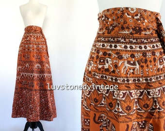 70s Vintage India Cotton Boho Hippie Wrap Elephant Indian Ethnic Hand blocked Festival Maxi Skirt. D006 . SML . 890.10.11.14