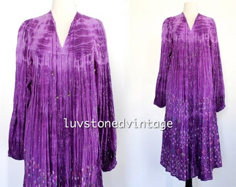 70s Vintage Indian Papillon Boho Hippie Cotton Gauze Metallic India Tie Dye Ombre Gypsy Festival Maxi Dress . XS . SM . 941.1.19.15 D217