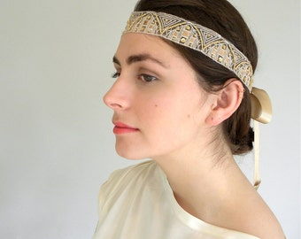 Gold Lace Headband, Gatsby Style Headband, Gold Wedding Headband, Champagne Beaded Headband, Gold Headband, Flapper Headband, Made in USA