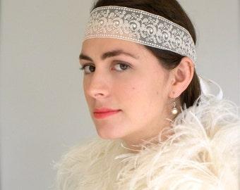 Lace Bridal Headband, Flapper Headband, Great Gatsby Style, Art Deco Headband, Wedding Headband, Rhinestone Headband, Ivory Lace, ifanhour