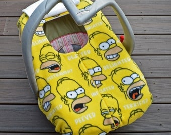 homer simpson baby car seat cover for geek nerd cartoon lover baby shower gift for winter. Black Bedroom Furniture Sets. Home Design Ideas
