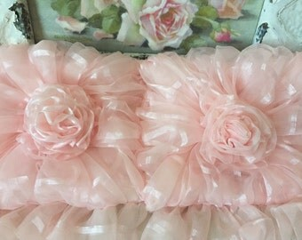 Boudior Pink Commode Set - Pink Organza - Hand Made Pink Roses - Tank Cover  - Lid Cover