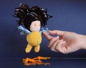 Art Doll of Sirin, crochet amigurumi self standing toy, Whimsical toy , interior design knitted toy, amigurumi decor, collectible doll